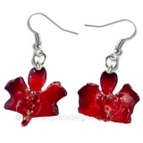 "Doritis ""Phalaenopsis"" Orchid Jewelry Earring (Red Black)"
