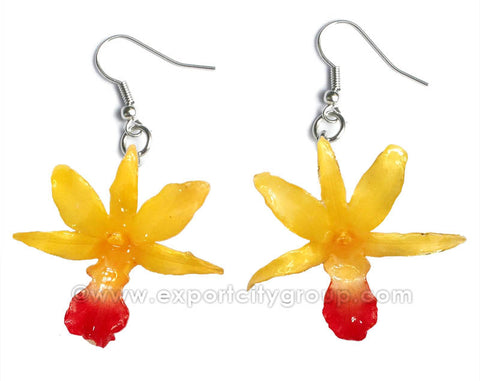 "Draconis ""Dendrobium"" Orchid Earring (Yellow)"