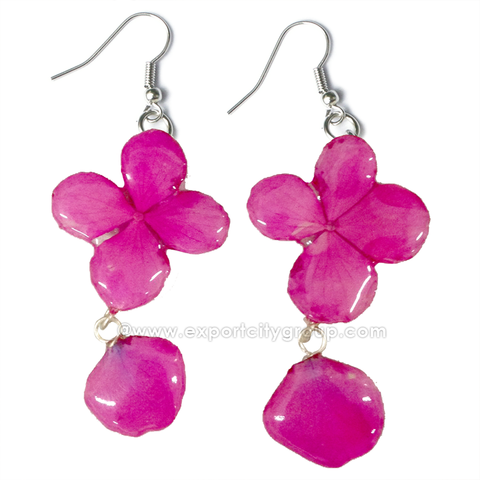 Hydrangea Flower Jewelry Earring (Hot Pink)