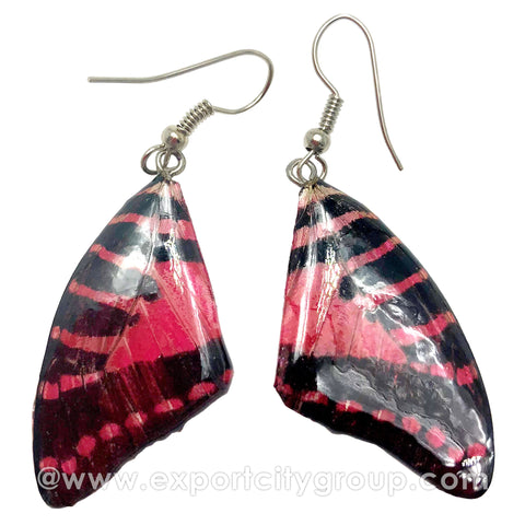 Real Butterfly Wings Jewelry Earring - Graphium (Red)