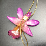 Dendrobium FORMOSUM Orchid Jewelry Slider Necklace Gold Plated 24K - PURPLE/PINK