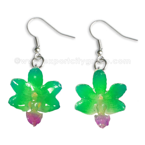 "Doritis ""Phalaenopsis"" Orchid Jewelry Earring (Emerald Green)"