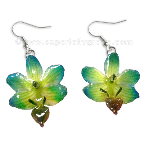 "Doritis ""Phalaenopsis"" Orchid Jewelry Earring (Green / Yellow)"