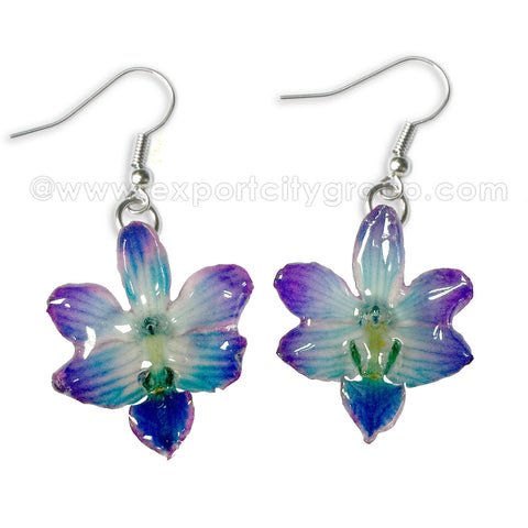 "Doritis ""Phalaenopsis"" Orchid Jewelry Earring (Purple / Blue)"