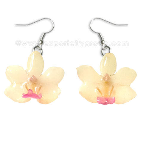 "Doritis ""Phalaenopsis"" Orchid Jewelry Earring (White / Pink)"