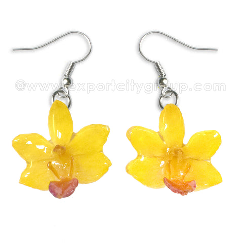 "Doritis ""Phalaenopsis"" Orchid Jewelry Earring (Yellow)"