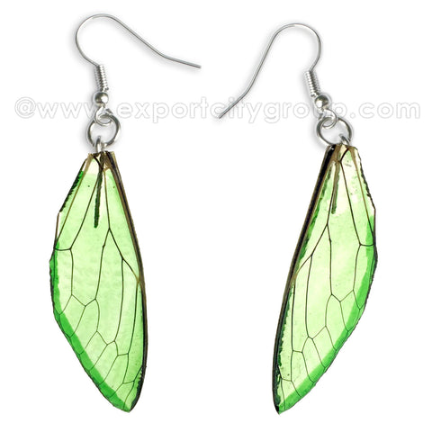 Real Cicadas Insect Wings Earring (Clear Green)