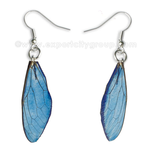 Real Cicadas Insect Wings Earring (Clear Navy)
