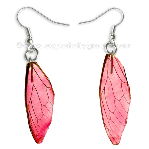 Real Cicadas Insect Wings Earring (Clear Red)