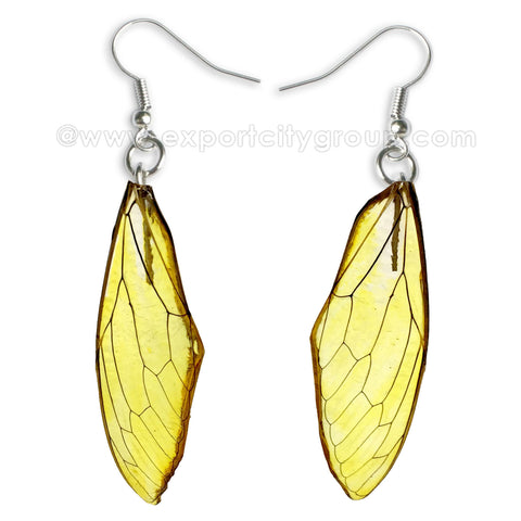 Real Cicadas Insect Wings Earring (Clear Yellow)