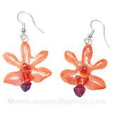 "Doritis ""Phalaenopsis"" Orchid Jewelry Earring (Orange)"