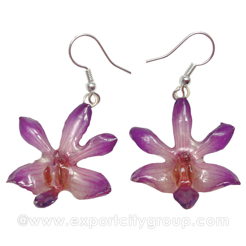 "Doritis ""Phalaenopsis"" Orchid Jewelry Earring (Light Purple)"