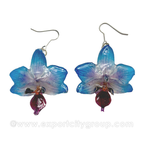 "Doritis MEDIUM ""Phalaenopsis"" Orchid Jewelry Earring (Blue)"