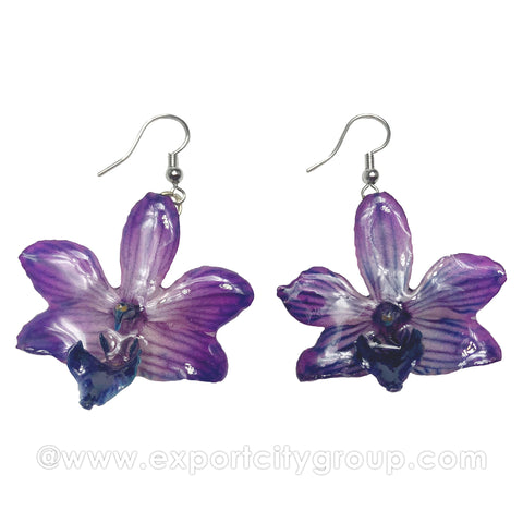"Doritis MEDIUM ""Phalaenopsis"" Orchid Jewelry Earring (Dark Purple)"