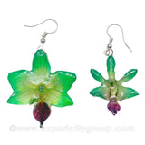 "Doritis MEDIUM ""Phalaenopsis"" Orchid Jewelry Earring (Green)"
