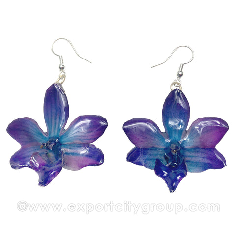 "Doritis MEDIUM ""Phalaenopsis"" Orchid Jewelry Earring (Navy)"