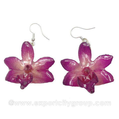 "Doritis MEDIUM ""Phalaenopsis"" Orchid Jewelry Earring (Purple)"