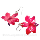 "Doritis MEDIUM ""Phalaenopsis"" Orchid Jewelry Earring (Red)"
