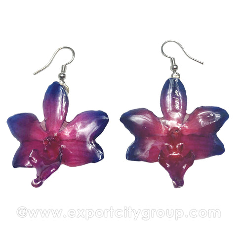 "Doritis MEDIUM ""Phalaenopsis"" Orchid Jewelry Earring (Red/Navy)"
