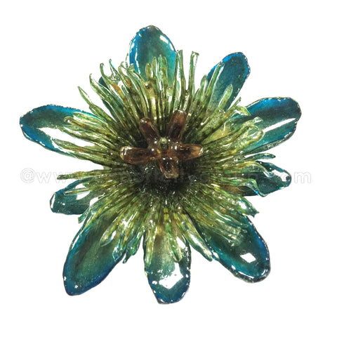 Passiflora Passion Flower Jewelry 2-in-1 pendant/brooch (Blue)