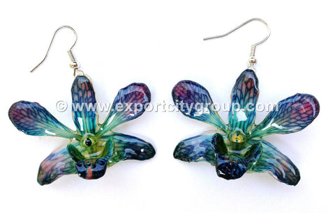 "Mini ""Dendrobium"" Orchid Earring (Blue)"