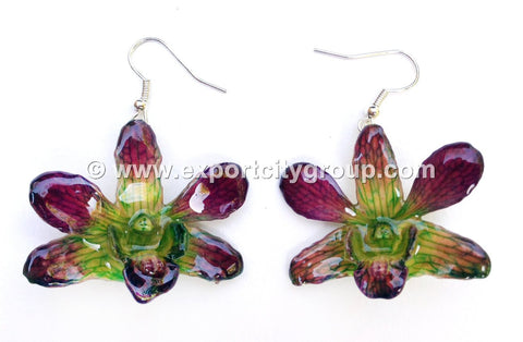"Mini ""Dendrobium"" Orchid Earring (Green 2 tone)"