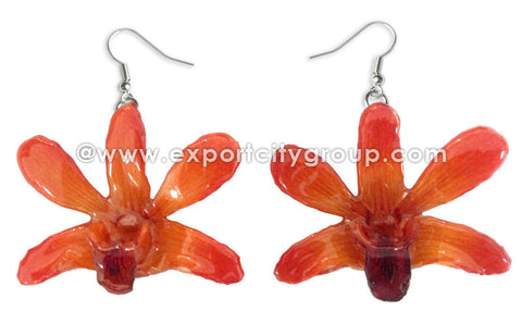 "Mini ""Dendrobium"" Orchid Earring (Orange)"