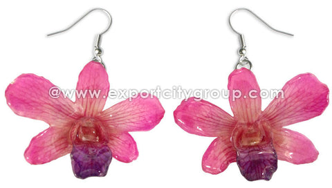 "Mini ""Dendrobium"" Orchid Earring (Pink)"