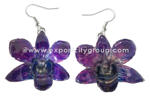 "Mini ""Dendrobium"" Orchid Earring (Dark Purple)"