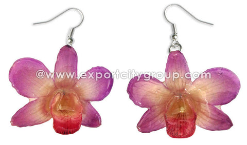"Mini ""Dendrobium"" Orchid Earring (Purple fuschia)"
