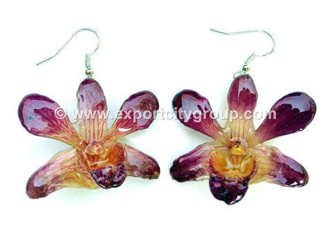 "Mini ""Dendrobium"" Orchid Earring (Natural Purple)"