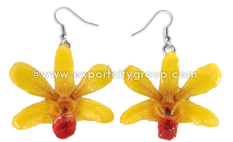 "Mini ""Dendrobium"" Orchid Earring (Yellow)"