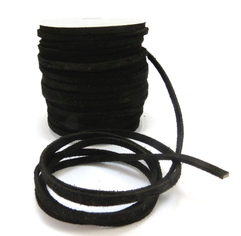 BLACK : 12PCS Real leather suede width 4mm Length 100cm (40inch)