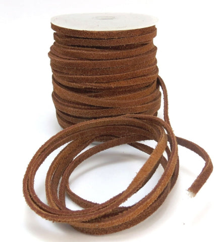 BROWN : 12PCS Real leather suede width 4mm Length 100cm (40inch)