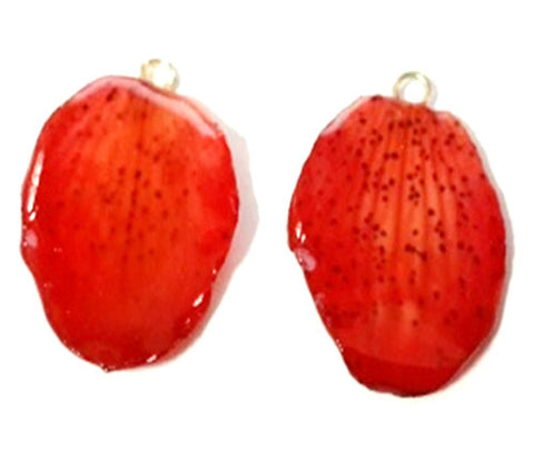 Paphiopedilum Concolor Orchid Jewelry Earring (Red)
