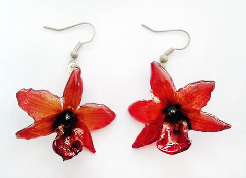 "Parichii ""Dendrobium"" Orchid Earring (Dark Red)"