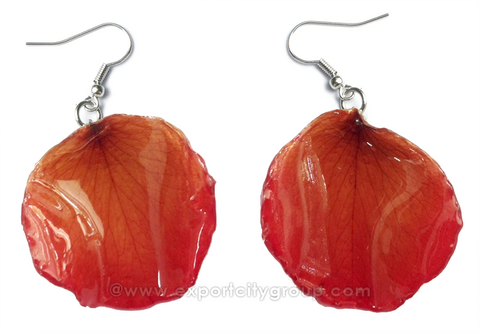 ROSE Petal Real Flower Jewelry Earring (Red Scarlet)