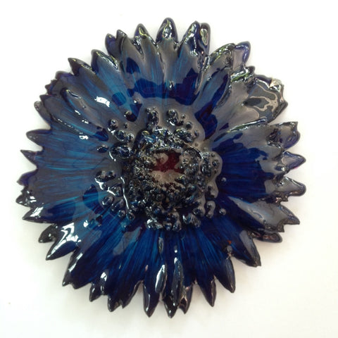 Gerbera Flower Jewelry 2-in-1 pendant/brooch (Navy)