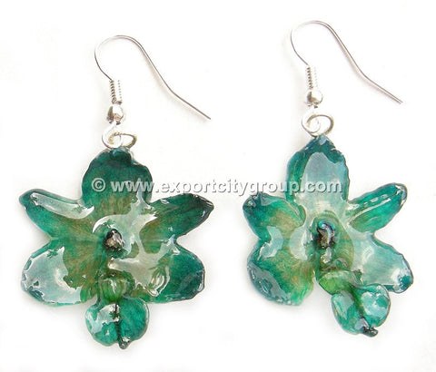 Rhynchorides (Bangkok Sunset) Orchid Jewelry Earring (Green Turquoise)