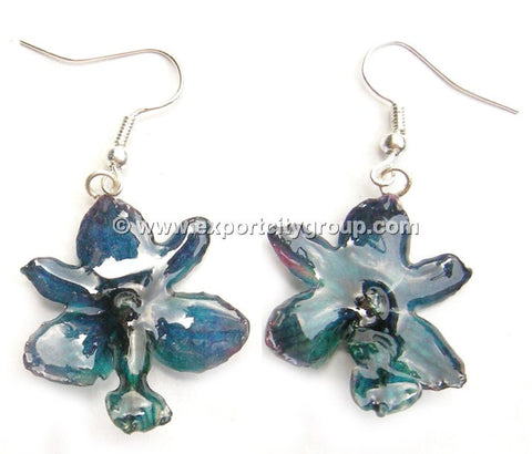 Rhynchorides (Bangkok Sunset) Orchid Jewelry Earring (Blue Navy)