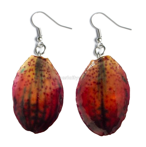 Paphiopedilum Concolor Orchid Jewelry Earring (Purple)
