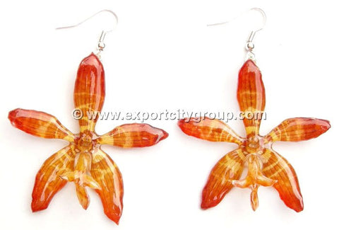 Staurochilus Fasciatus Bengal Tiger Orchid Jewelry Earring (Yellow)