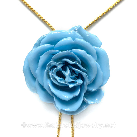 Baby Blue Real Flower Jewelry Slider Necklace Gold Plated 24K