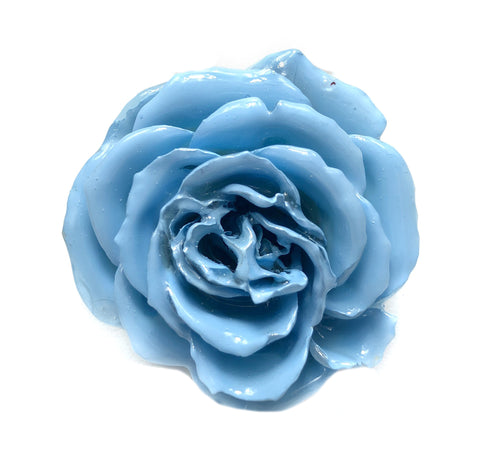Baby Blue Real Flower Jewelry 3D ROSE in RESIN PENDANT or LOOSE PIECE