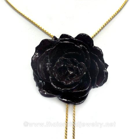 Black Real Flower Jewelry Slider Necklace Gold Plated 24K