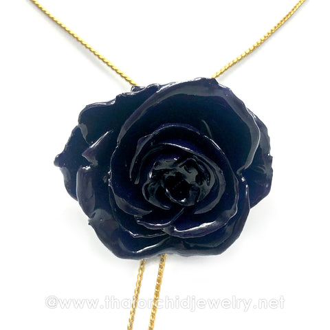 INDIGO Blue Real Flower Jewelry Slider Necklace Gold Plated 24K