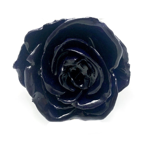 INDIGO Blue Real Flower Jewelry 3D ROSE in RESIN PENDANT or LOOSE PIECE