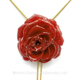 Red Burgundy TEA ROSE Real Flower Jewelry Slider Necklace Gold Plated 24K