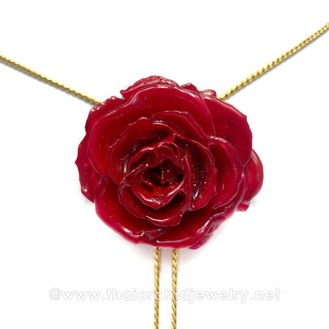RED TEA ROSE Real Flower Jewelry Slider Necklace Gold Plated 24K