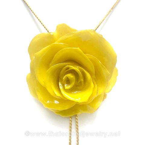 Yellow Real Flower Jewelry Slider Necklace Gold Plated 24K